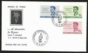 Cyprus FDC First Day Cover, US President John F Kennedy JFK Stamps Set 1965