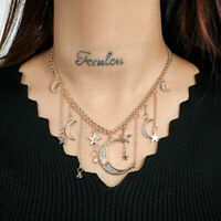 Women's Star Multilayer Chain Necklace Crystal Jewelry Chic Pendant Moon Choker