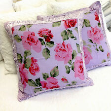 New Shabby French Country Vintage Chiffon Lilac Rose Euro Sham Bed Pillow Cover