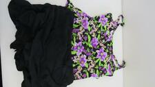 Island Escape Swimwear Swimsuit 2pc Tankini Size 14 Black Purple Flowers NEW