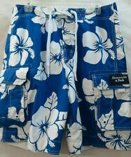 Abercrombie Swim Trunks Mens Medium white & blue floral Boardshort P-5