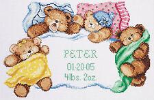 Cross Stitch Kit Janlynn Teddy Bears Down for a Nap Baby Birth Record #056-0191