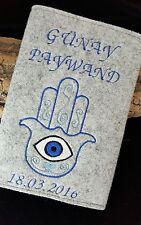 NAZAR /türkisches Auge/U-Heft Hülle/Schutzhülle Namen+Geburtsdatum Fatimas Hand