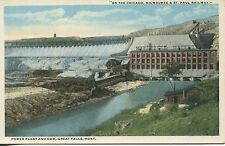 """c. 1910 Great Falls, Power Plant & Dam, Unposted, VGCond, """"On the Railway"""""""