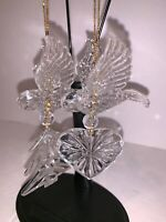 Lot of 2 Vintage Acrylic Plastic Christmas Tree  Bird Flying Heart Ornaments