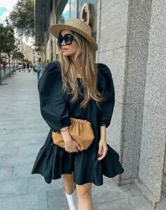 H&M TREND Conscious Puff-Sleeved 100% Cotton Dress BLACK Short Midi SOLD OUT
