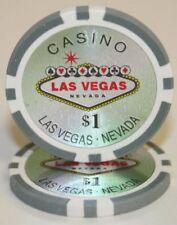 100 Gray $1 Las Vegas 14g Clay Poker Chips New - Buy 3, Get 1 Free