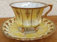Vintage Royal Sealy Footed Tea Cup & Reticulated Saucer Yellow & Gold Japan EUC