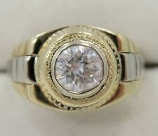 STUNNING ~ Mens ~ 2.51 Carat Diamond Solitaire ~ 14K Two Tone Watch Style Ring