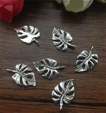 Wholesale 12pcs Tibet silver Tree leaf Charm Pendant beaded Jewelry Findings