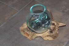 Unikat Glas Vase Ø 10cm auf Teakholz Gamal Wurzel 20cm Deko Bali Geschenk NEU