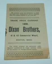 1890 Boston Massachusetts Dixon Brothers Liquor Catalog and Price List