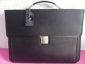 Thierry Mugler Black Faux Leather Triple Gusset Designer Brief Case. Carry Strap