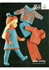 "VINTAGE KNITTING PATTERN COPY -  DOLLS OUTFIT FITS  16-18- 20"" DOLLS -1960's"