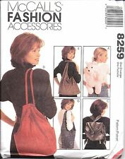 8259 UNCUT Vintage McCalls Sewing Pattern Totes Bag Backpack Sling Slouch Purse
