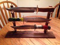 XL Solid Walnut 3 Bowie Knife Display Stand