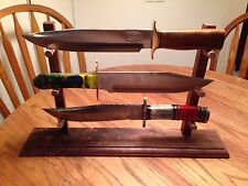 XL Solid Walnut 3 Bowie Knife Display Stand