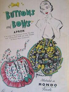 Charming VTG 40s ADVANCE Misses Buttons & Bows Apron PATTERN One Size Perfect!