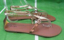 Mujer Verano Oro Metálico Marrón Zapatos Mujer Sexy Sandalias Size 8.5