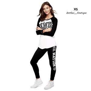 NEW Victoria's Secret PINK Baseball Grahic Tee & Gym Pants in Black & White, XS