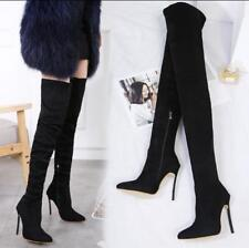 Womens Black Over Knee Boots Slim Stilettos high Heels Shoes Pointed Toe Stretch