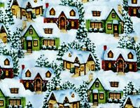 CHRISTMAS WINTER COUNTRY COTTAGES DAVID TEXTILES SNOW COTTON FABRIC  BY THE YARD