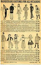 1929 small Print Ad of Masquerade Costumes clown tinkle bell Santa Chinese suit