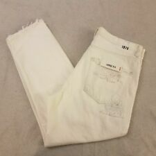 Zara Man White Cropped Loose Fit Distressed Jeans Size 32 1975 Denim Mens New