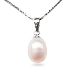 Pearl Pendant Necklace Sterling Silver Freshwater White Pink Lavender Black