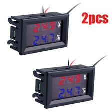 2xdc12 24v Led Display Car Voltage Water Temperature Gauge Voltmeter Thermometer