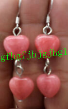 AAA heart-shaped 12x12mm Natural pink Rhodochrosite Gem Silver Hook Earrings