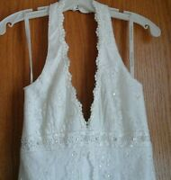 Davids Bridal Wedding Halter A line Dress, Ivory with lace and beads, Size 4P