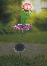 sehr schöne Solar Stableuchte, Blume mit Glaskugel, Metall, neu