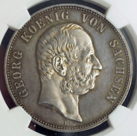 1903, Saxony, George I. Proof Silver 5 Mark Coin. Only 50 pcs. Struck! NGC PF62!