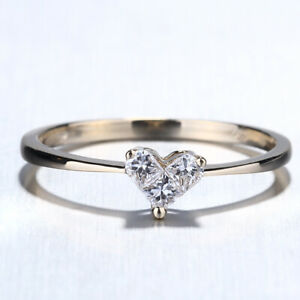 Love Heart Invisible Setting Engagement Women Diamond Ring Solid 14K Yellow Gold