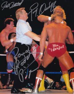 Rowdy Roddy Piper & Paul Orndorff Pat Patterson Signed 8x10 Photo WWE Autograph