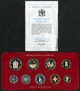 Malta 1980 Proof 9 Coin Set MIB NO RESERVE!
