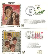1980 Two Beatles John Lennon date of death & vigil first day covers from US & UK