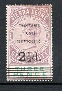 Sierra Leone QV 1897 Surch 2½d on 3d Dull Purple & Green SG55 M/Mint