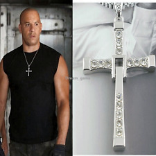 US SHIP Fast and Furious Vin Diesel Dominic Toretto Cross Pendant Chain Necklace