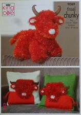 KNITTING PATTERN Highland Cow Soft Toy and Cushion/Pillow Tinsel King Cole 9089