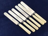 """Vintage Sheffield Made Stainless Steel Faux Bone 8"""" Butter Knives"""