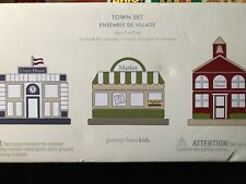 NIB Pottery Barn Kids City Streets Wooden Train Town Set-Market,School,Court Hse