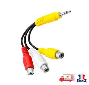 Câble Audio vidéo AV 3.5mm 4 Pôles Mâle à 3 RCA Av Femelle HDTV