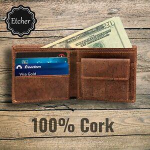 Men's 100% Cork Bifold Wallet, Vegan, RFID Blocking With Coin Pocket