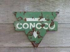 VINTAGE ORIGINAL CONOCO PORCELAIN METAL PUMP SIGN GREEN