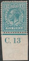 1913 ROYAL CYPHER SG394 10d TURQUOISE BLUE CONTROL C.13 MINT HINGED