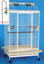 New Large Open PlayTop Double Ladder Parrot Cockatiel Macaw Aviary W/Toy Hood