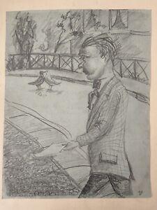"""Wilhelm Heise - """"Trottel"""" - 1924 -  Graphit, Kohle auf Papier"""