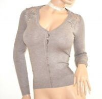 PULL BEIGE femme cardigan manches longues maillot brodé strass pullover F115